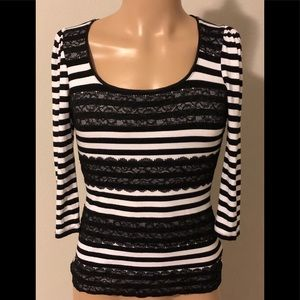 White House Black Market Stripped Lace Top